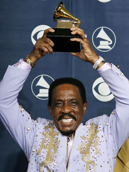 Ike Turner holds the Grammy for Best Traditional Blues Album at the 49th Annual Grammy Awards in Los Angeles