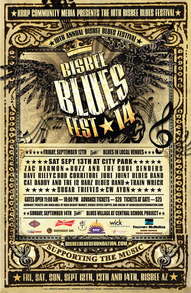 A2014Sept13BISBEE BLUES FEST POSTER zac revised small