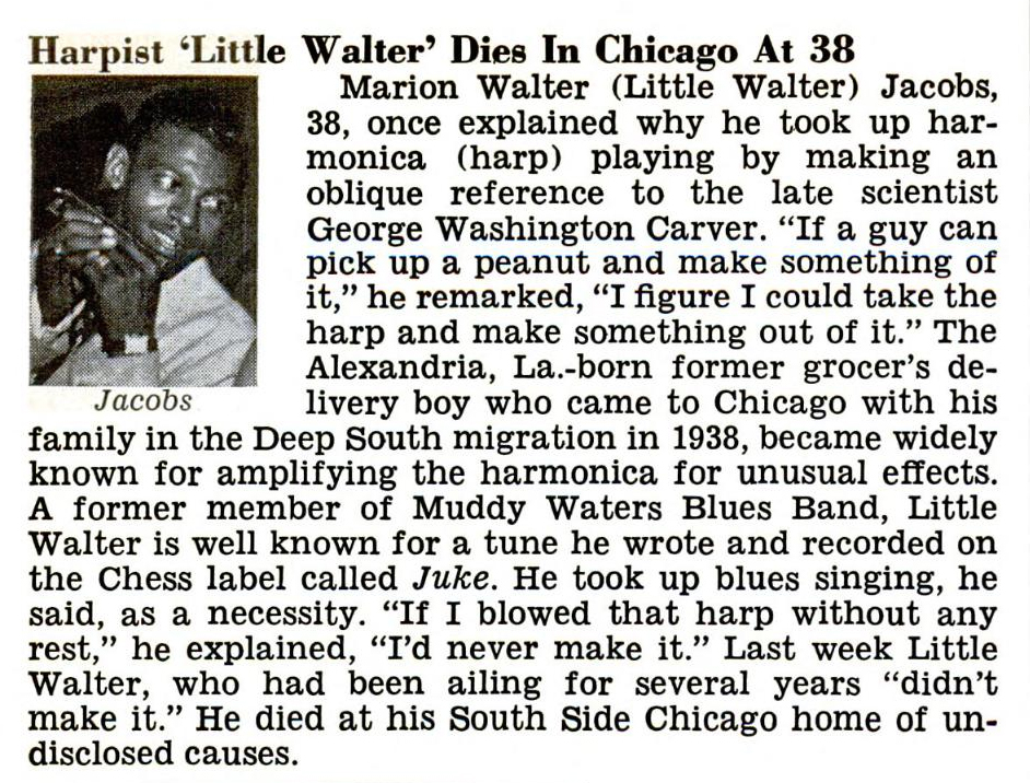 Little Walter Photo Tribute Bob Corritore Official Website